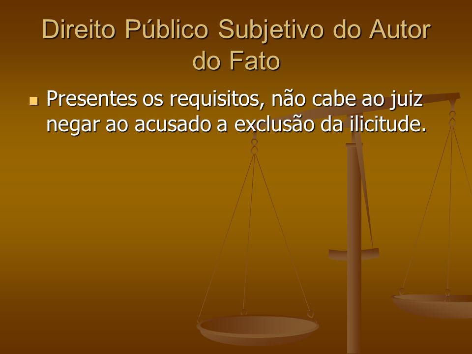 Direito Público Subjetivo do Autor do Fato Presentes os requisitos, não cabe ao juiz negar ao acusado a exclusão da ilicitude. Presentes os requisitos
