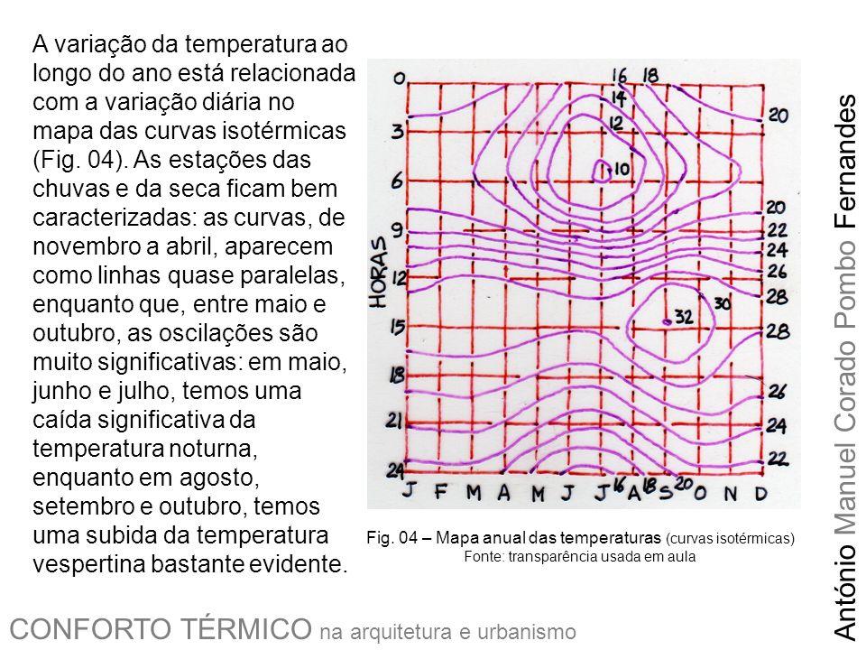 CONFORTO TÉRMICO na arquitetura e urbanismo António Manuel Corado Pombo Fernandes A precipitação pluviométrica e a umidade relativa (UR) seguem a lógica do chamado clima composto: na época da chuva há cinco meses de chuvas na casa dos 200 mm/mês e UR média na casa dos 80%, de novembro a março; na época da seca temos cinco meses do período seco, temos dois, maio e setembro, com pouca chuva e os outros, junho, julho e especialmente agosto, extremamente secos, com precipitações médias abaixo de 10 mm/mês com a UR média em 50% (à tarde, alcança valores bastante baixos).