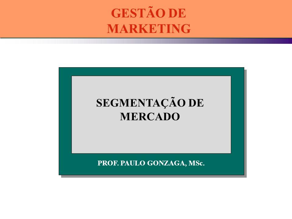 PROF. PAULO GONZAGA, MSc. SEGMENTAÇÃO DE MERCADO GESTÃO DE MARKETING