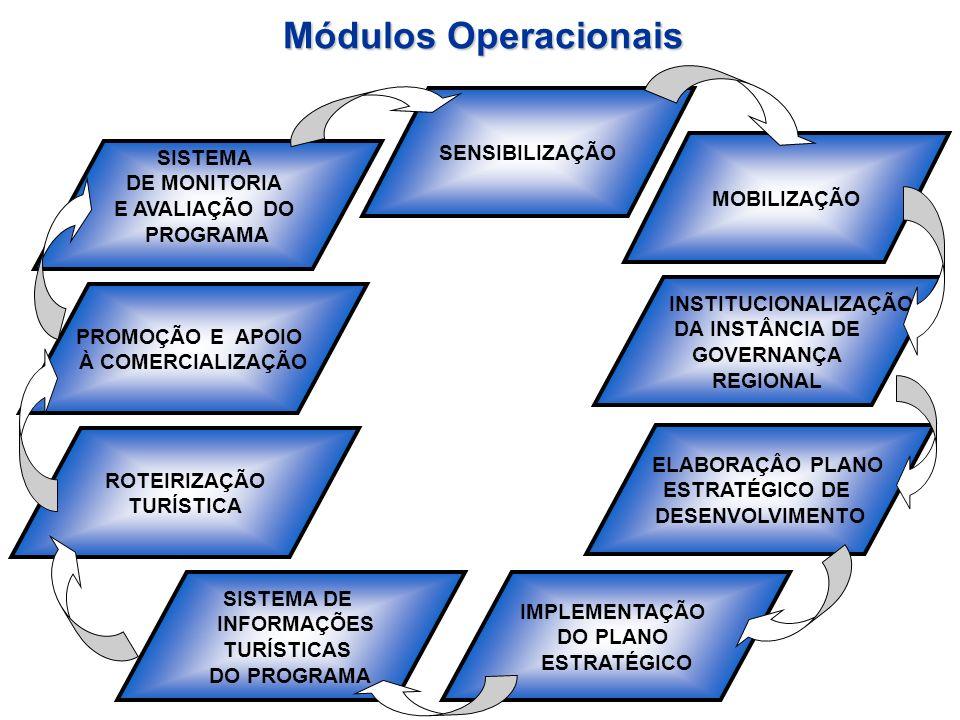 Módulos Operacionais SENSIBILIZAÇÃO MOBILIZAÇÃO INSTITUCIONALIZAÇÃO DA INSTÂNCIA DE GOVERNANÇA REGIONAL ELABORAÇÂO PLANO ESTRATÉGICO DE DESENVOLVIMENT