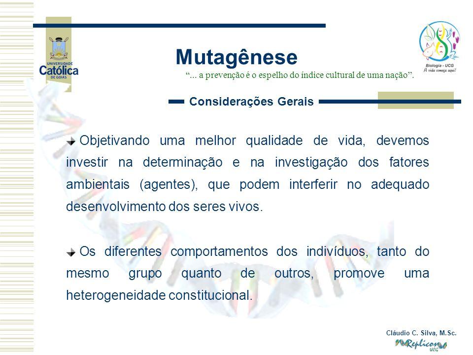 Cláudio C. Silva, M.Sc. Objetivando uma melhor qualidade de vida, devemos investir na determinação e na investigação dos fatores ambientais (agentes),
