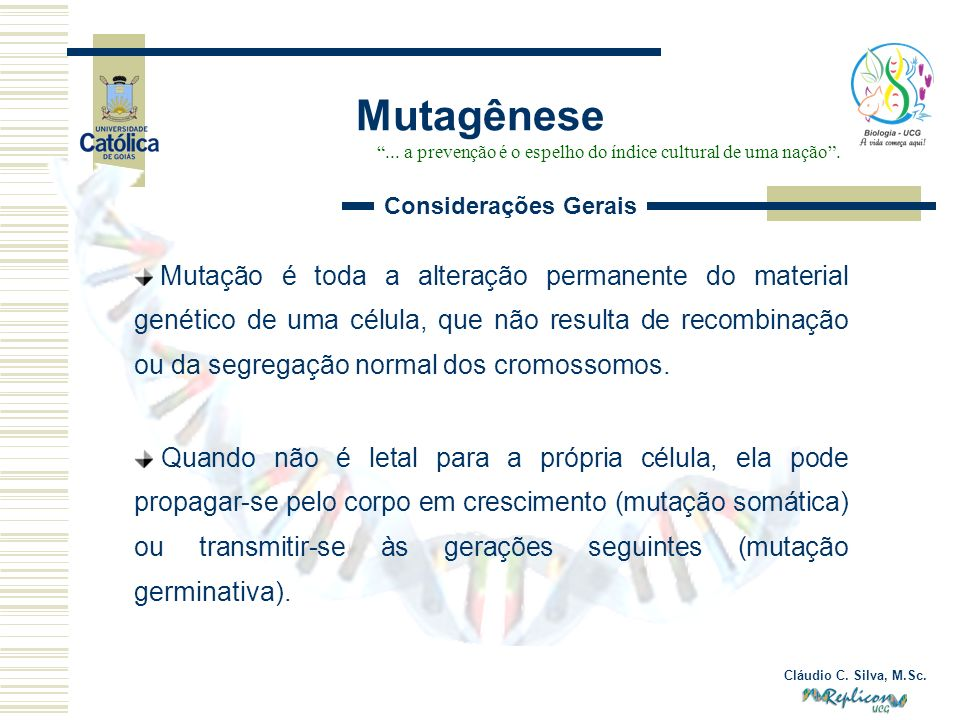 Cláudio C. Silva, M.Sc. Mutagênese... a prevenção é o espelho do índice cultural de uma nação. Mutação é toda a alteração permanente do material genét