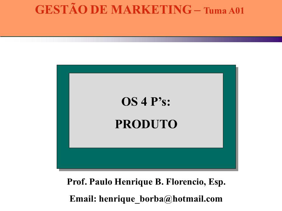 Prof. Paulo Henrique B. Florencio, Esp. Email: henrique_borba@hotmail.com OS 4 Ps: PRODUTO GESTÃO DE MARKETING – Tuma A01