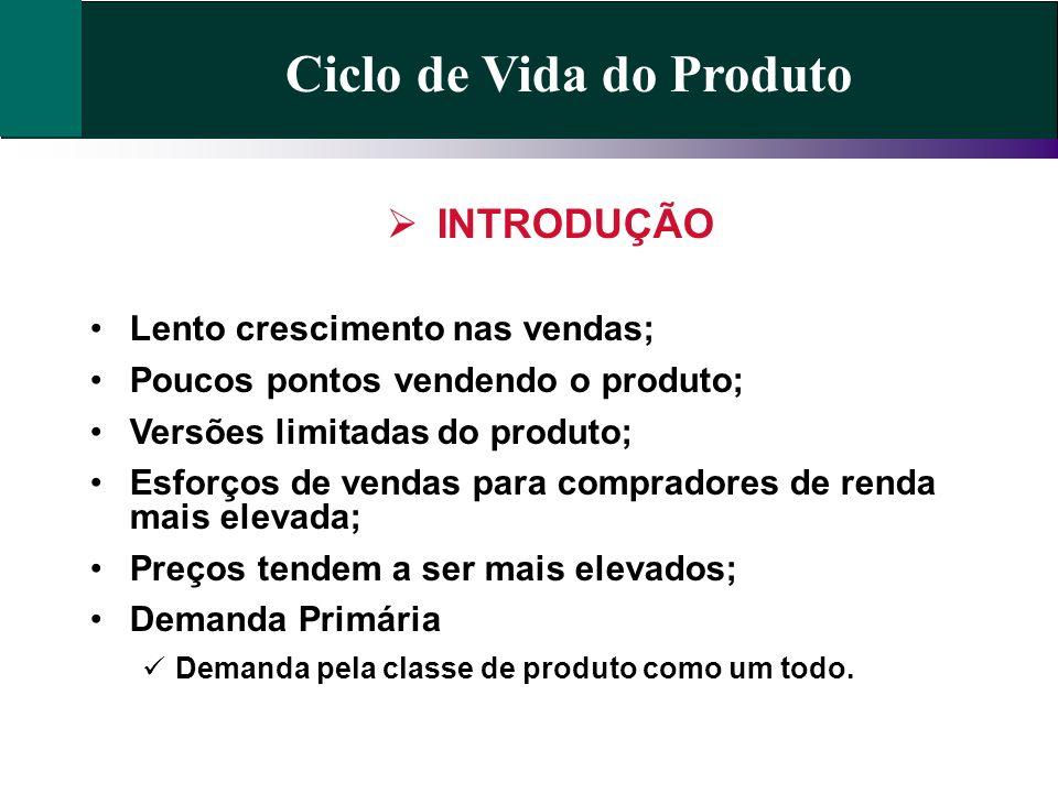 Ciclo de Vida do Produto INTRODUÇÃO Lento crescimento nas vendas; Poucos pontos vendendo o produto; Versões limitadas do produto; Esforços de vendas p
