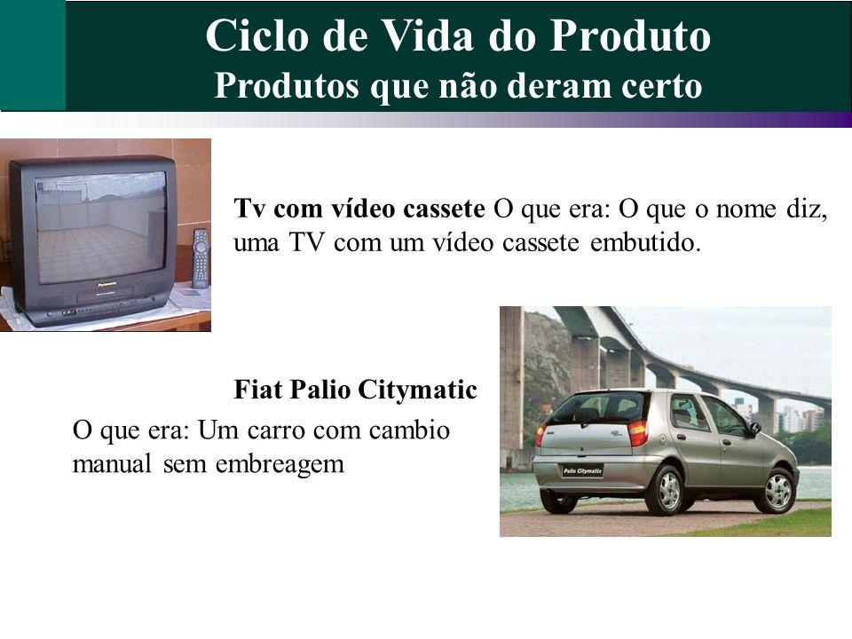 Ciclo de Vida do Produto Produtos que não deram certo Tv com vídeo cassete O que era: O que o nome diz, uma TV com um vídeo cassete embutido. Fiat Pal