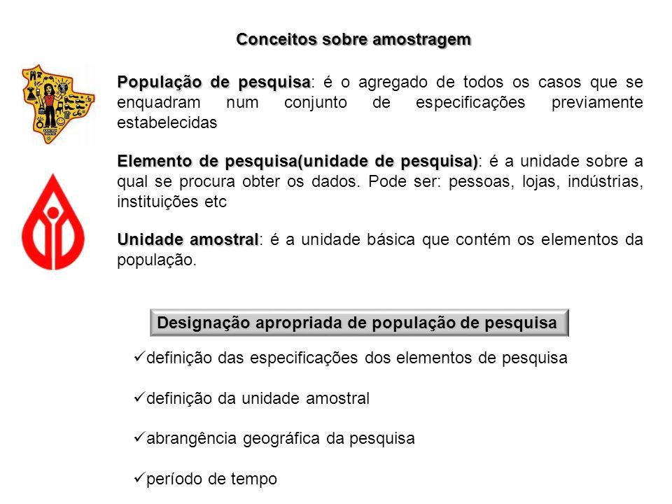 Conceitos sobre amostragem População de pesquisa População de pesquisa: é o agregado de todos os casos que se enquadram num conjunto de especificações