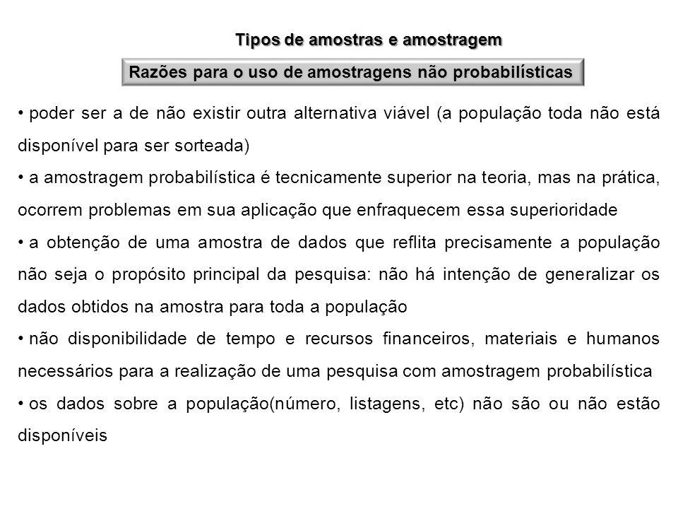 Tipos de amostras e amostragem Razões para o uso de amostragens não probabilísticas poder ser a de não existir outra alternativa viável (a população t