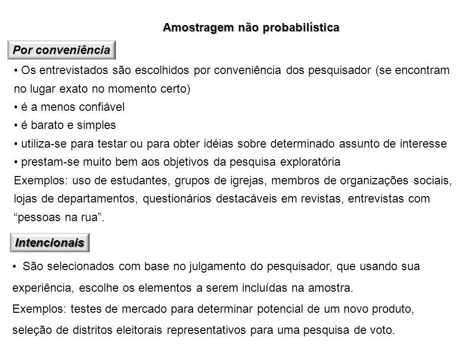 Amostragem não probabilística Por conveniência Os entrevistados são escolhidos por conveniência dos pesquisador (se encontram no lugar exato no moment