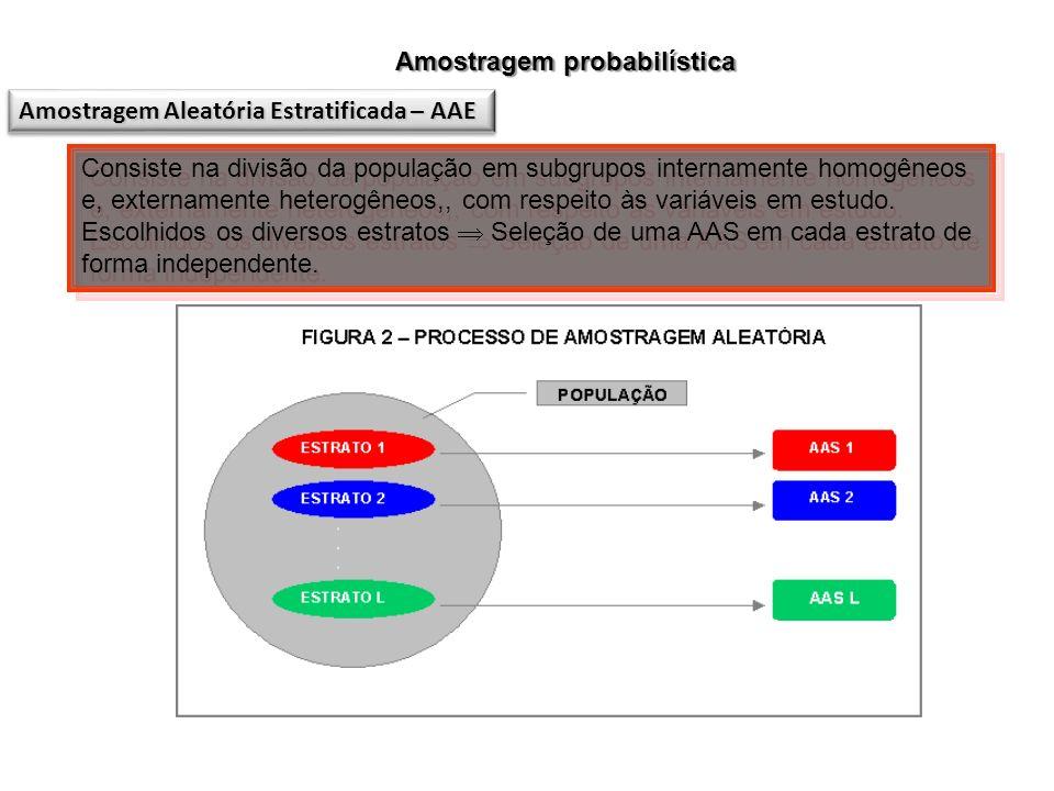 Amostragem probabilística Consiste na divisão da população em subgrupos internamente homogêneos e, externamente heterogêneos,, com respeito às variáve