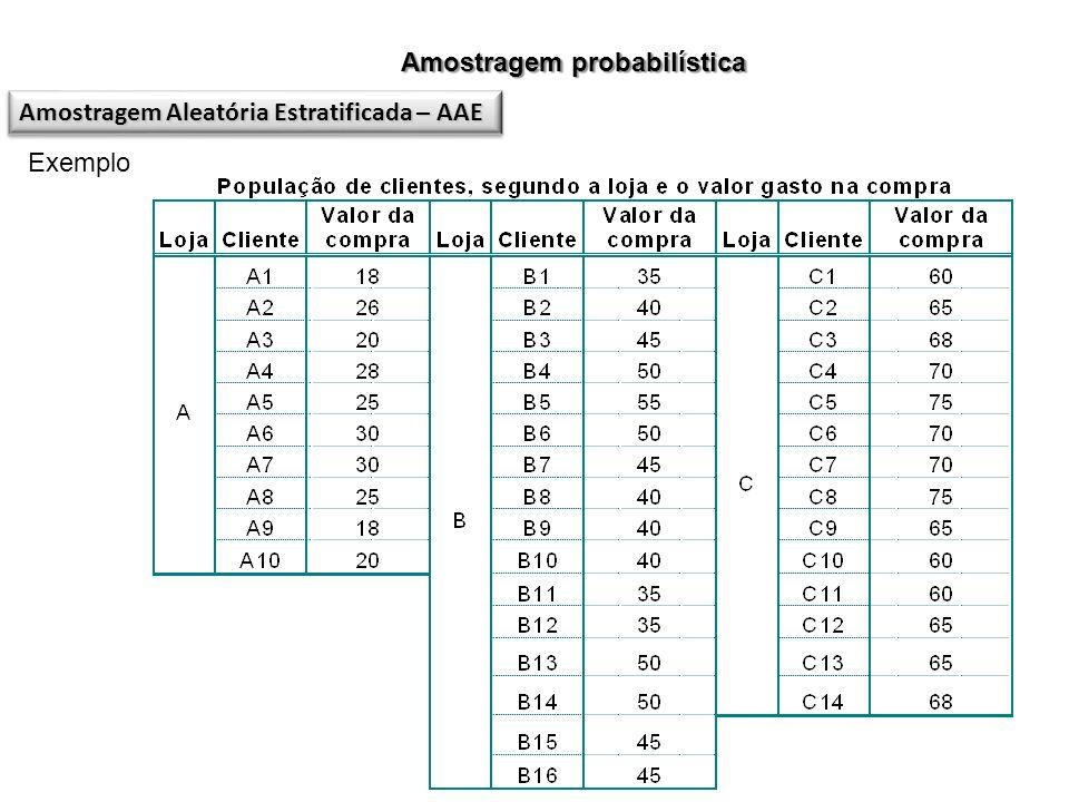 Amostragem probabilística Amostragem Aleatória Estratificada – AAE Exemplo