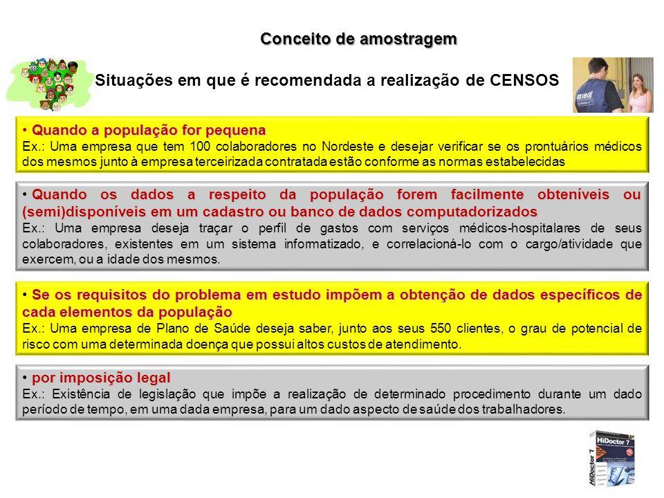 Conceito de amostragem Situações em que é recomendada a realização de CENSOS Quando a população for pequena Ex.: Uma empresa que tem 100 colaboradores