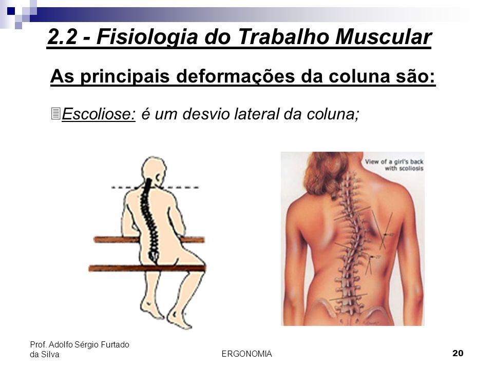 ERGONOMIA 20 Prof. Adolfo Sérgio Furtado da Silva As principais deformações da coluna são: 3Escoliose: é um desvio lateral da coluna; 2.2 - Fisiologia