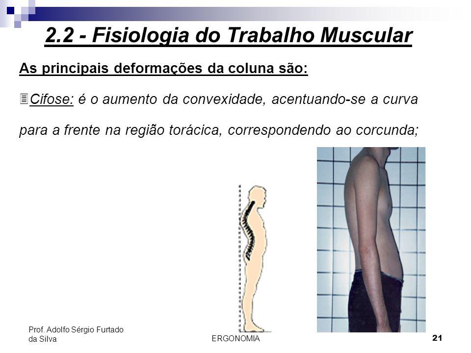 ERGONOMIA 21 Prof. Adolfo Sérgio Furtado da Silva As principais deformações da coluna são: 3Cifose: é o aumento da convexidade, acentuando-se a curva