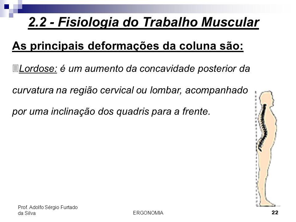 ERGONOMIA 22 Prof. Adolfo Sérgio Furtado da Silva As principais deformações da coluna são: 3Lordose: é um aumento da concavidade posterior da curvatur