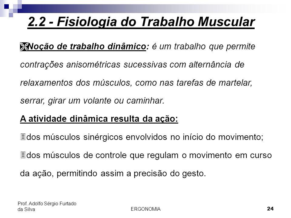 ERGONOMIA 24 Prof. Adolfo Sérgio Furtado da Silva Ì Noção de trabalho dinâmico: é um trabalho que permite contrações anisométricas sucessivas com alte