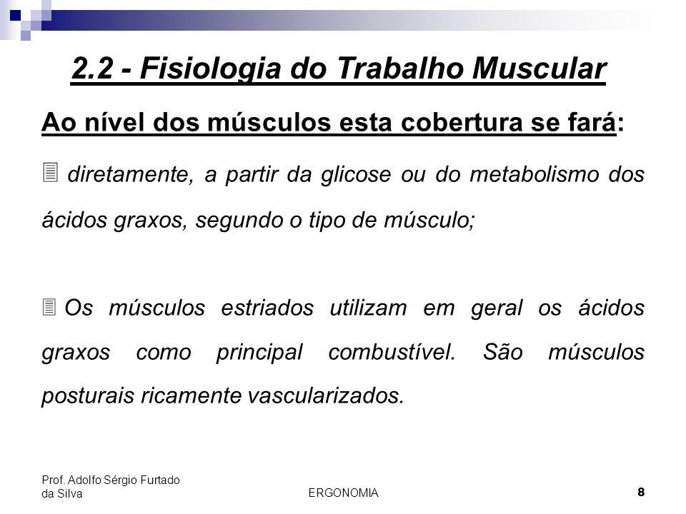 ERGONOMIA 8 Prof. Adolfo Sérgio Furtado da Silva Ao nível dos músculos esta cobertura se fará: 3 diretamente, a partir da glicose ou do metabolismo do