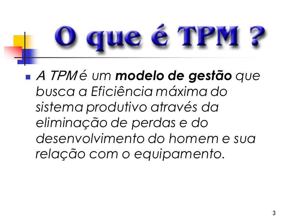 3 A TPM é um modelo de gestão que busca a Eficiência máxima do sistema produtivo através da eliminação de perdas e do desenvolvimento do homem e sua r