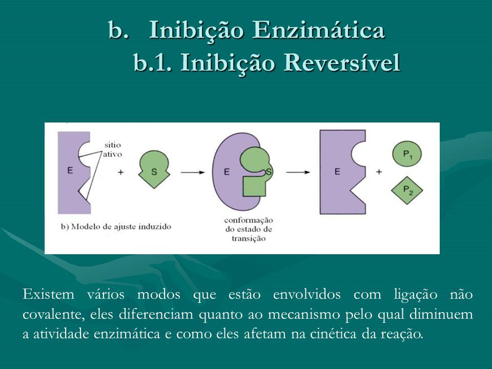 b.Inibição Enzimática b.1. Inibição Reversível Existem vários modos que estão envolvidos com ligação não covalente, eles diferenciam quanto ao mecanis