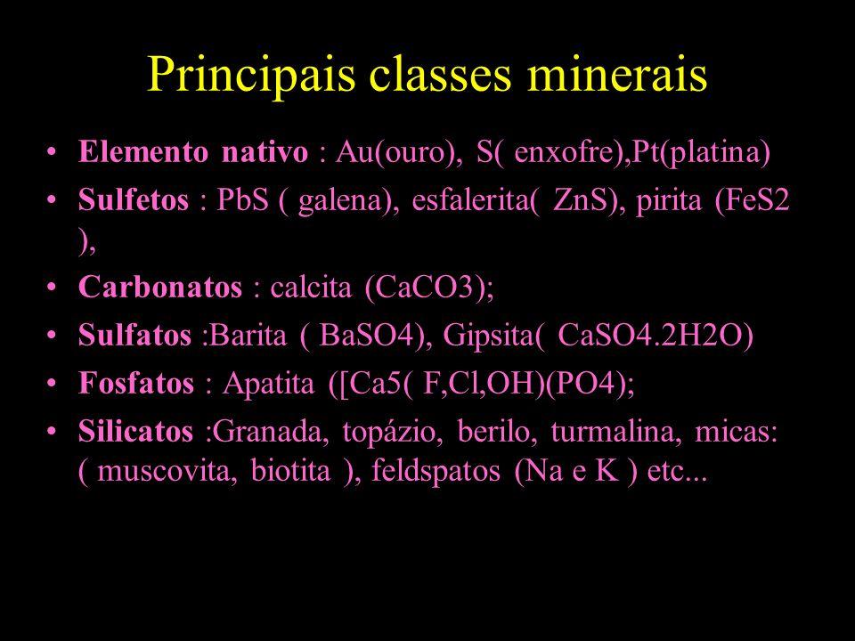 Principais classes minerais Elemento nativo : Au(ouro), S( enxofre),Pt(platina) Sulfetos : PbS ( galena), esfalerita( ZnS), pirita (FeS2 ), Carbonatos