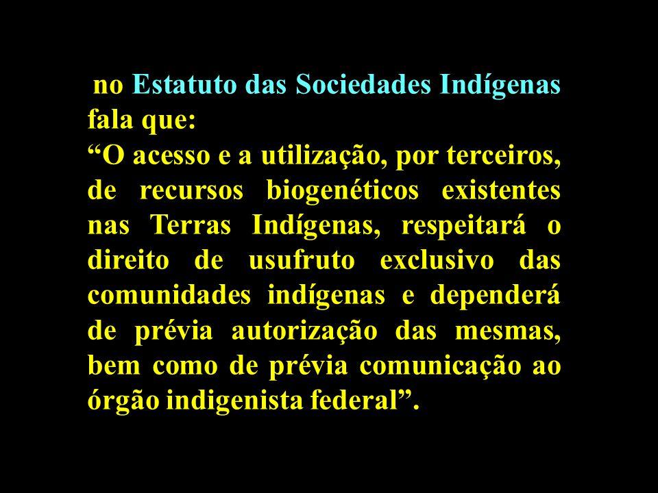 no Estatuto das Sociedades Indígenas fala que: O acesso e a utilização, por terceiros, de recursos biogenéticos existentes nas Terras Indígenas, respe