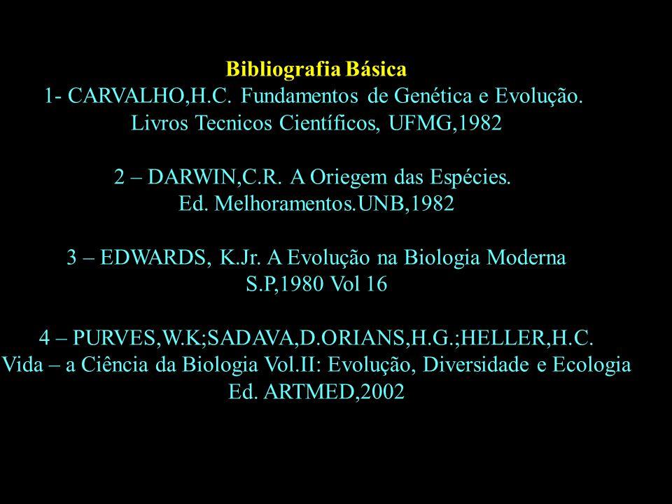 Divisão em 02 continentes Bibliografia Básica 1- CARVALHO,H.C. Fundamentos de Genética e Evolução. Livros Tecnicos Científicos, UFMG,1982 2 – DARWIN,C