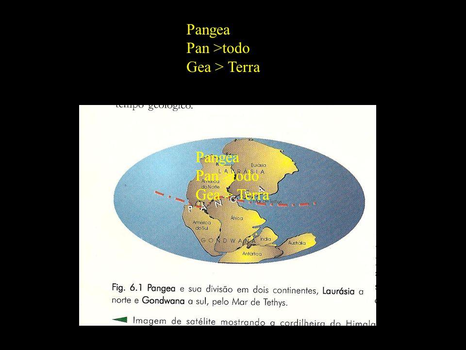 Divisão em 02 continentes Pangea Pan >todo Gea > Terra