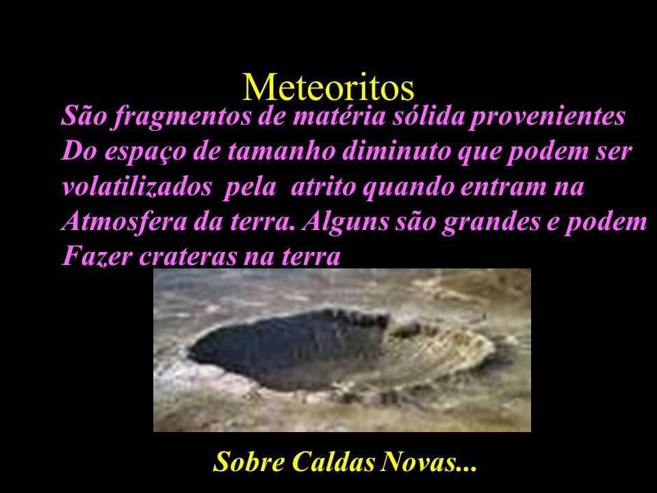 Meteoritos São fragmentos de matéria sólida provenientes Do espaço de tamanho diminuto que podem ser volatilizados pela atrito quando entram na Atmosf