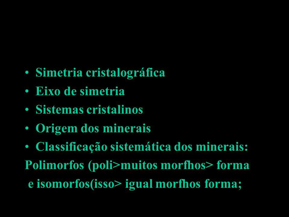 Simetria cristalográfica Eixo de simetria Sistemas cristalinos Origem dos minerais Classificação sistemática dos minerais: Polimorfos (poli>muitos mor