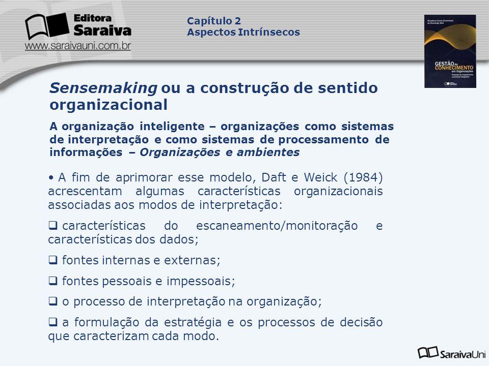 A fim de aprimorar esse modelo, Daft e Weick (1984) acrescentam algumas características organizacionais associadas aos modos de interpretação: caracte