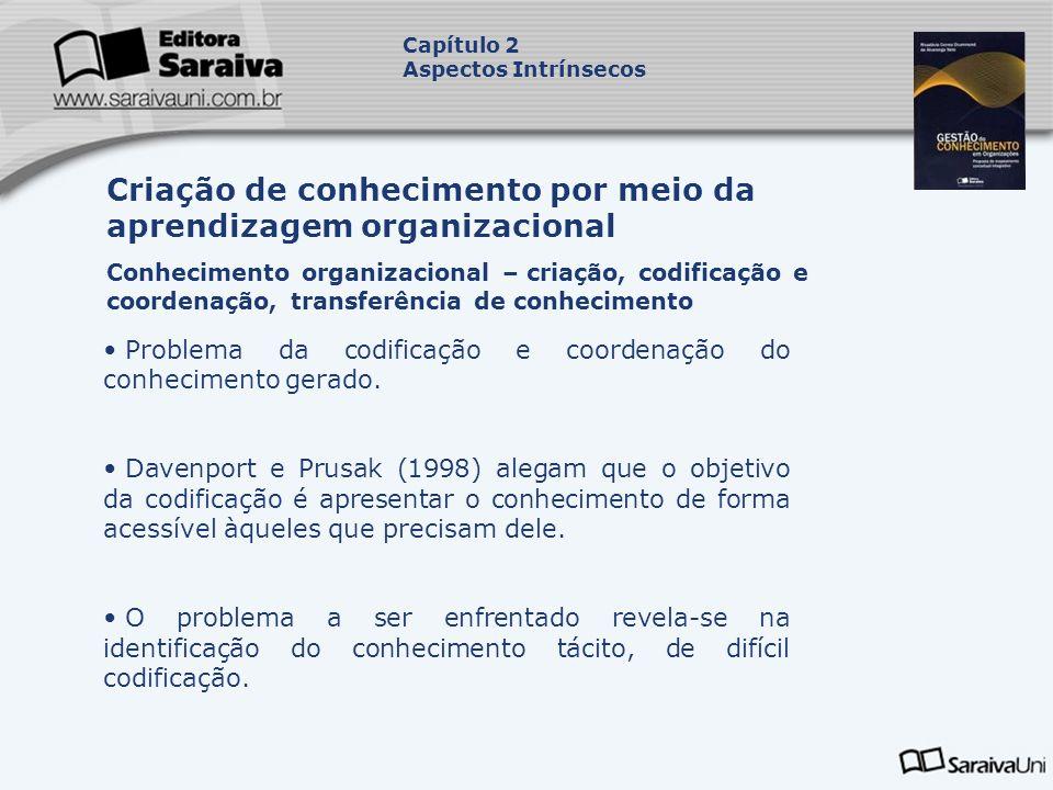 Problema da codificação e coordenação do conhecimento gerado. Davenport e Prusak (1998) alegam que o objetivo da codificação é apresentar o conhecimen