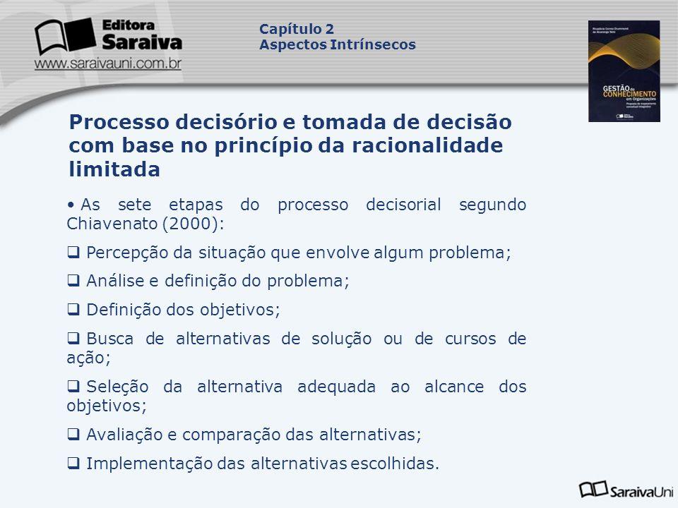 As sete etapas do processo decisorial segundo Chiavenato (2000): Percepção da situação que envolve algum problema; Análise e definição do problema; De