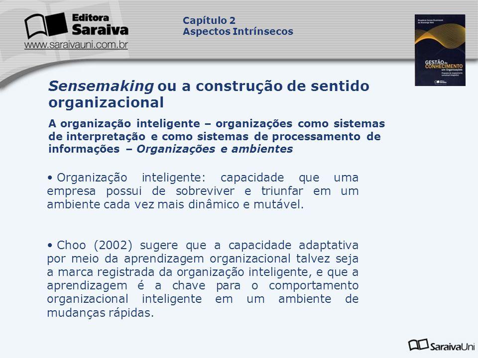 Organização inteligente: capacidade que uma empresa possui de sobreviver e triunfar em um ambiente cada vez mais dinâmico e mutável. Choo (2002) suger