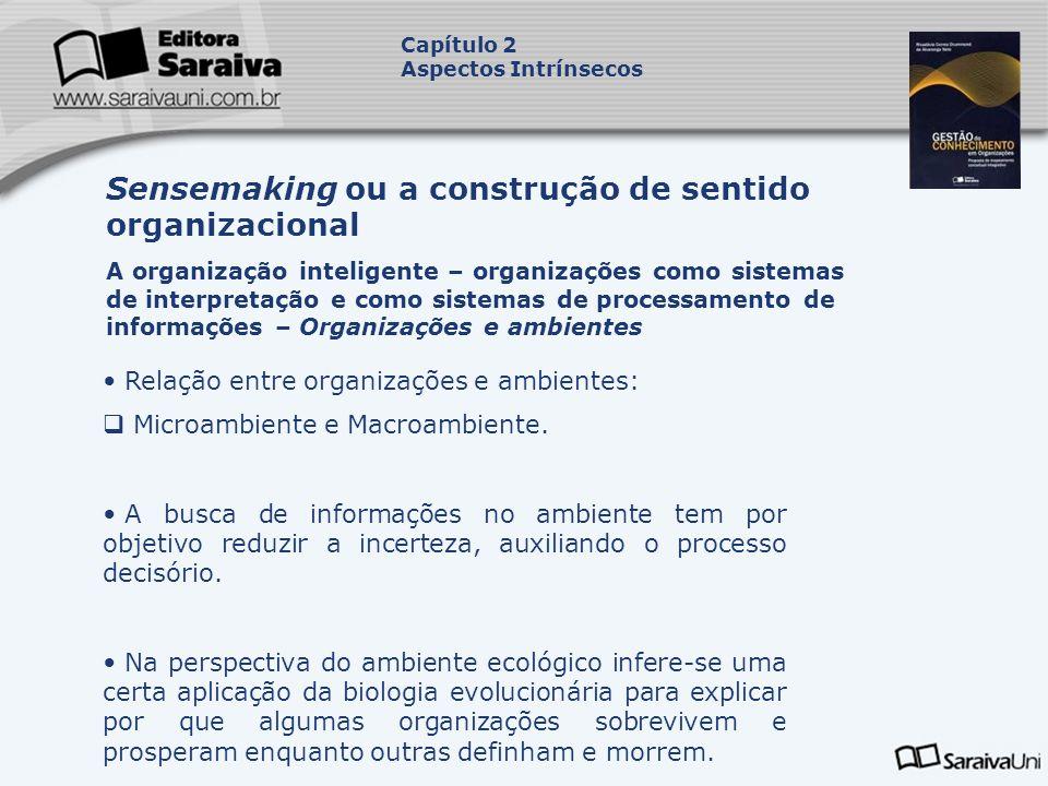 Relação entre organizações e ambientes: Microambiente e Macroambiente. A busca de informações no ambiente tem por objetivo reduzir a incerteza, auxili