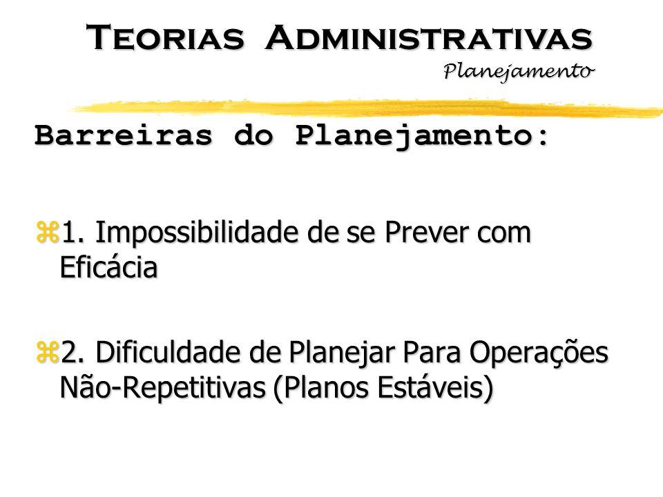 Barreiras do Planejamento: z1. Impossibilidade de se Prever com Eficácia z2. Dificuldade de Planejar Para Operações Não-Repetitivas (Planos Estáveis)