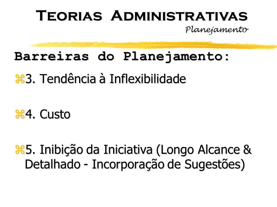 Barreiras do Planejamento: z3. Tendência à Inflexibilidade z4. Custo z5. Inibição da Iniciativa (Longo Alcance & Detalhado - Incorporação de Sugestões