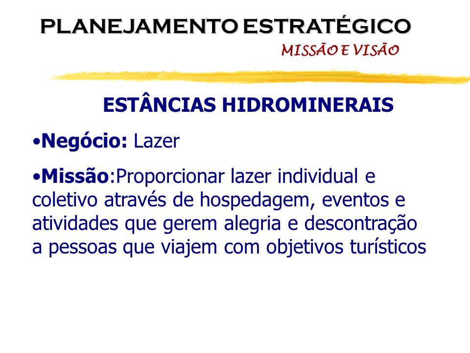 ESTÂNCIAS HIDROMINERAIS Negócio: Lazer Missão:Proporcionar lazer individual e coletivo através de hospedagem, eventos e atividades que gerem alegria e