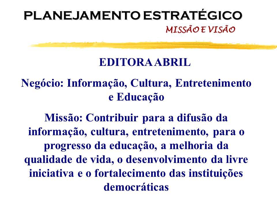 EDITORA ABRIL Negócio: Informação, Cultura, Entretenimento e Educação Missão: Contribuir para a difusão da informação, cultura, entretenimento, para o