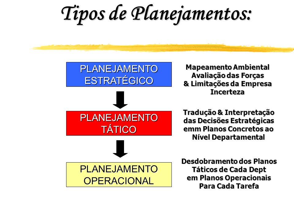 Tipos de Planejamentos: PLANEJAMENTOESTRATÉGICO PLANEJAMENTOTÁTICO PLANEJAMENTOOPERACIONAL Mapeamento Ambiental Avaliação das Forças & Limitações da E