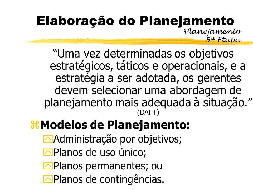 Elaboração do Planejamento Uma vez determinadas os objetivos estratégicos, táticos e operacionais, e a estratégia a ser adotada, os gerentes devem sel