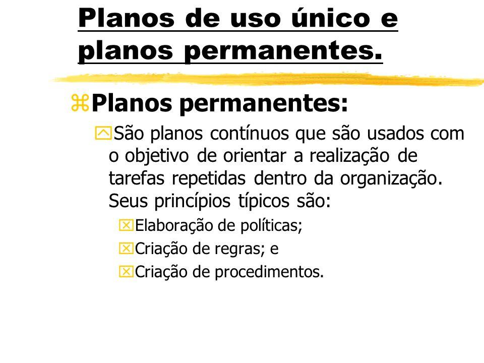Planos de uso único e planos permanentes. zPlanos permanentes: ySão planos contínuos que são usados com o objetivo de orientar a realização de tarefas