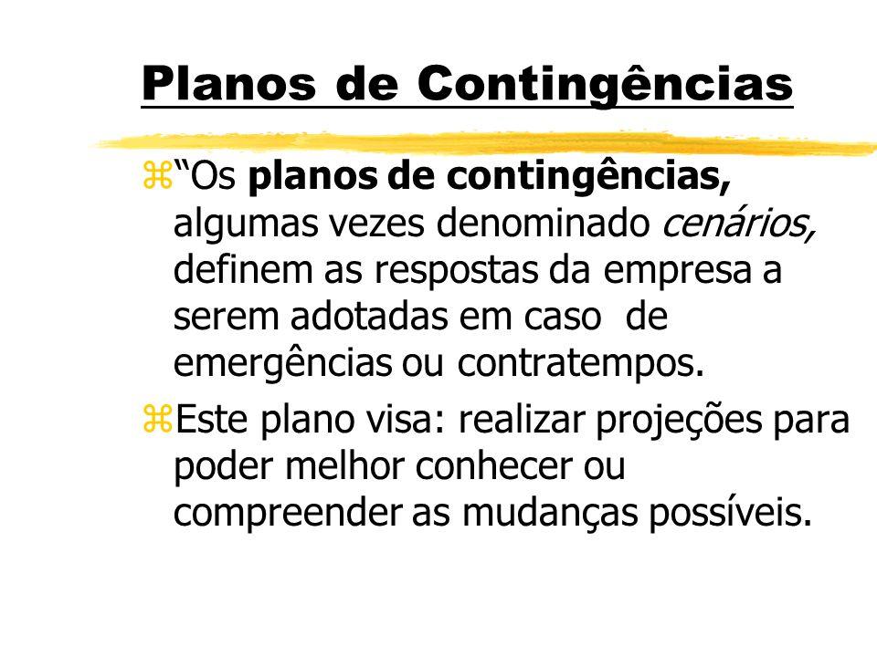 Planos de Contingências zOs planos de contingências, algumas vezes denominado cenários, definem as respostas da empresa a serem adotadas em caso de em