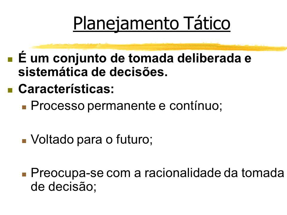 Planejamento Tático É um conjunto de tomada deliberada e sistemática de decisões. Características: Processo permanente e contínuo; Voltado para o futu