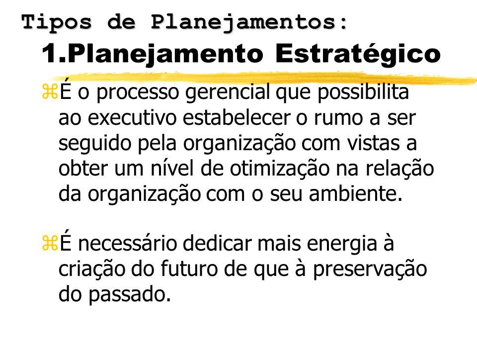 1.Planejamento Estratégico zÉ o processo gerencial que possibilita ao executivo estabelecer o rumo a ser seguido pela organização com vistas a obter u