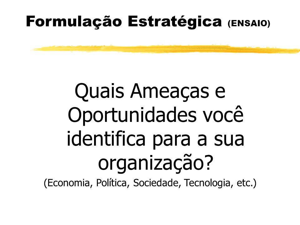 Formulação Estratégica (ENSAIO) Quais Ameaças e Oportunidades você identifica para a sua organização? (Economia, Política, Sociedade, Tecnologia, etc.