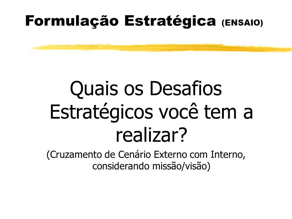 Formulação Estratégica (ENSAIO) Quais os Desafios Estratégicos você tem a realizar? (Cruzamento de Cenário Externo com Interno, considerando missão/vi