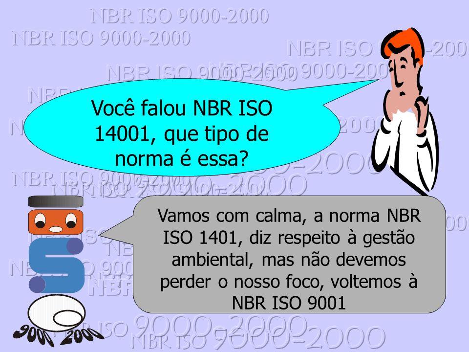 Você falou NBR ISO 14001, que tipo de norma é essa? Vamos com calma, a norma NBR ISO 1401, diz respeito à gestão ambiental, mas não devemos perder o n