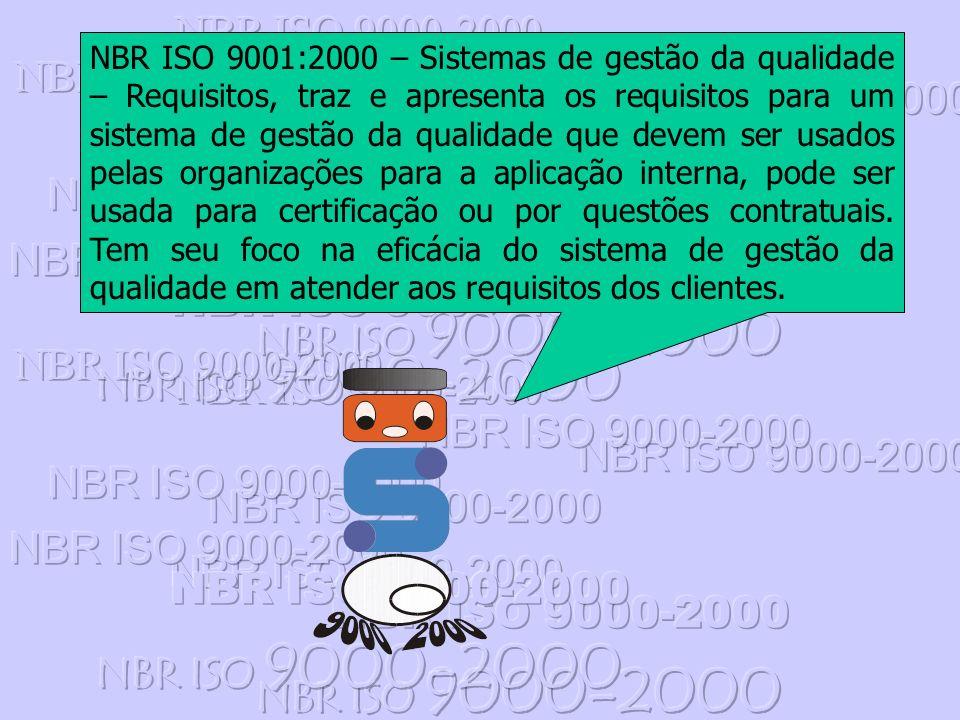 NBR ISO 9001:2000 – Sistemas de gestão da qualidade – Requisitos, traz e apresenta os requisitos para um sistema de gestão da qualidade que devem ser