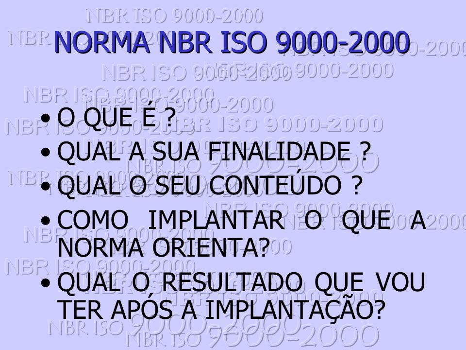 Muita coisa mudou com a nova família de Normas NBR ISO 9000, dentre as mudanças podemos ressaltar as seguintes: atualmente para a certificação, não mais existem segundo NBR ISO 9001, 9002 ou 9003, o sistema é único, segundo a NBR ISO 9001.