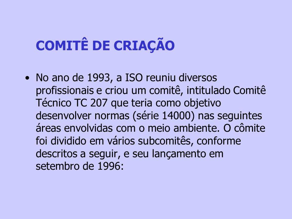 COMITÊ DE CRIAÇÃO No ano de 1993, a ISO reuniu diversos profissionais e criou um comitê, intitulado Comitê Técnico TC 207 que teria como objetivo dese