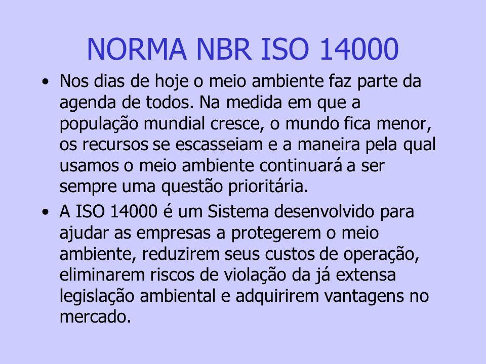NORMA NBR ISO 14000 Nos dias de hoje o meio ambiente faz parte da agenda de todos. Na medida em que a população mundial cresce, o mundo fica menor, os